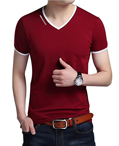 JNC Men's Summer V-Neck Casual Slim Fit Short Sleeve T-Shirts Cotton Shirts (Large, Wine Red) by JNC