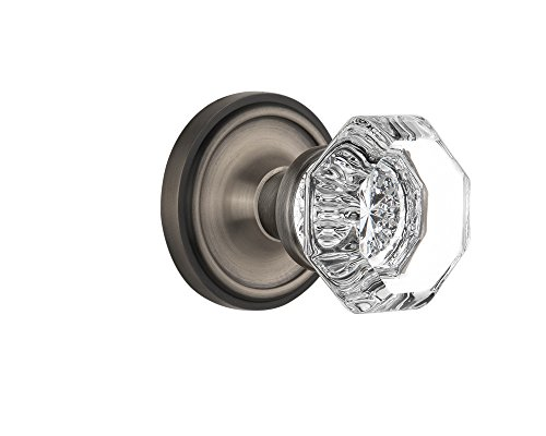 - Nostalgic Warehouse BN40-CLAWAL-AP Classic Rosette with Waldorf Knob Privacy, Antique Pewter