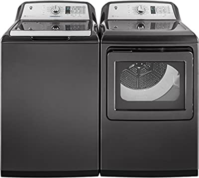 "GE Gray Top Load Laundry Pair with GTW750CPLDG 27"" Washer and GTD75ECPLDG 27"" Electric Dryer"