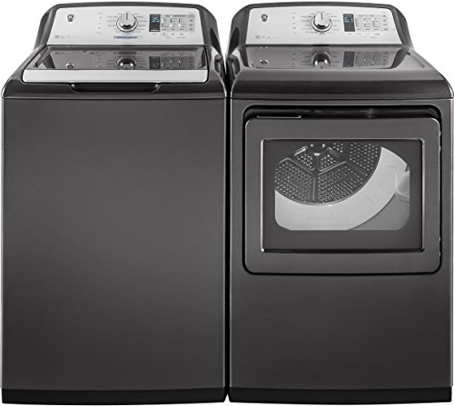 GE Gray Top Load Laundry Pair with GTW750CPLDG 27″ Washer and GTD75ECPLDG 27″ Electric Dryer