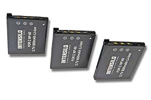INTENSILO 3x Li-Ion batería 600mAh (3.7V) para cámara de video, videocámara Casio Exilim EX-FS10, EX-S10, EX-S12 por NP-60.