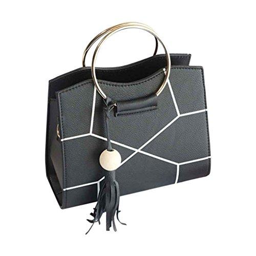 Femmes attirantes épaule Sacs de Crossbody fille Lady PU cuir bois perles Glands Messenger Sac à main Arichtop Noir