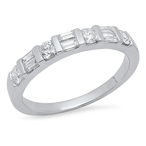 Dazzlingrock Collection 0.47 Carat (Ctw) 14K Gold Round & Baguette Cut White Diamond Ladies Wedding Band Stackable Ring 1/4 CT