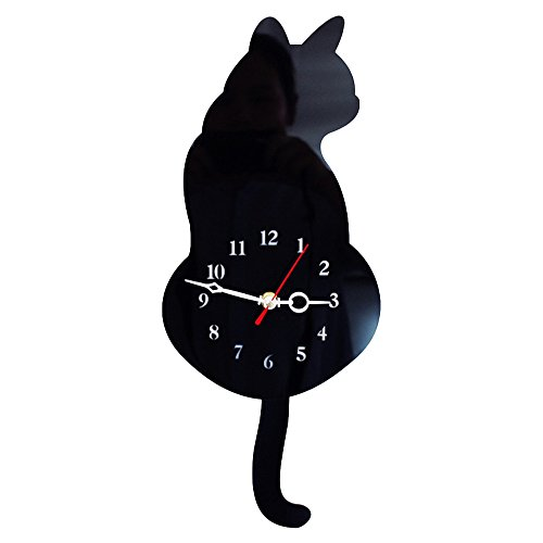 Weka Cute Mute Movement Acrylic Cat Wall Clock with Wagging Tail 2 x AA Battery Powered Home Decor New-Black
