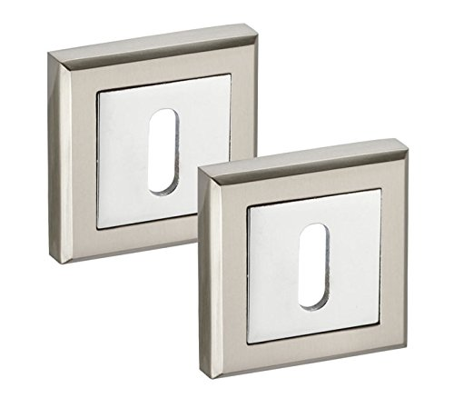 Square Keyhole Escutcheon Plate Pair with Duo Chrome Finish Handle King Hardware ®