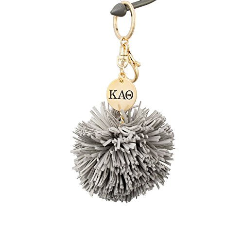 A-List Greek Kappa Alpha Theta Pom Tassel Keychain Sorority Key Chain with Laser Engraved Charm - Color Gray (Kappa Alpha Key Ring)