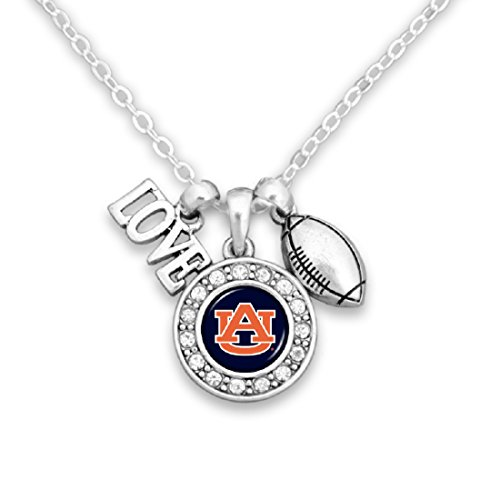 Auburn Tigers Crystal Necklace - FTH Auburn Tigers Chain Necklace with Cluster Pendant & Love and Football Charm and a Round Auburn Logo