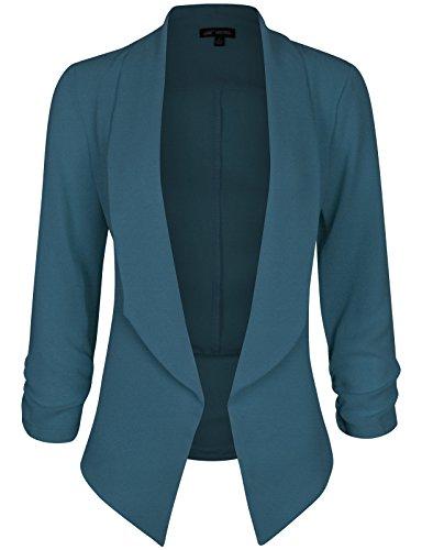 Michel Women's 3/4 Sleeve Blazer Light Weight Chiffon Casual Open Front Cardigan Jacket Work Office Blazer