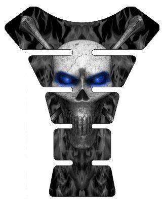 Motorcycle sportbike black flame skull blue eyes 3d gel Tank Pad tankpad protector