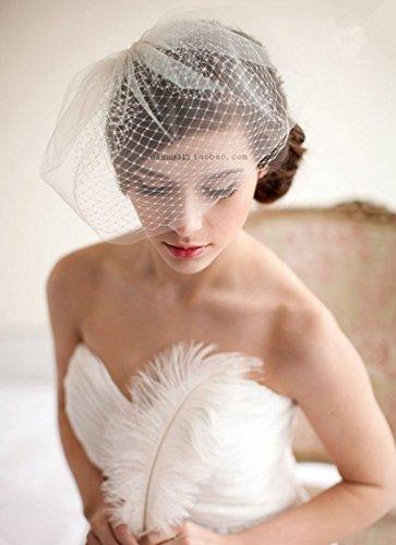 (SM SunniMix White Wedding Bridal Feather Net Bow Birdcage Face Veil Fascinator)
