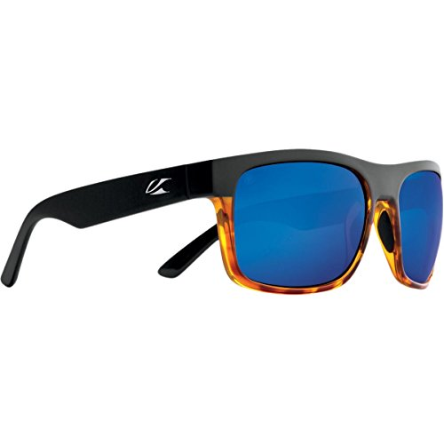 Kaenon Mens Burnet XL Sunglasses, Matte Black/Tortoise / Pacific Blue Mirror, OS