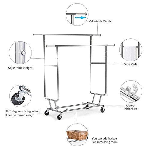 Amazon.com: yaheetech Garment rack Rolling plegable rack ...