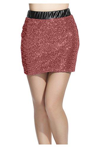 Lotus Instyle Femmes Avant jupe en cuir artificiel avec mini-jupe  sequins Caf