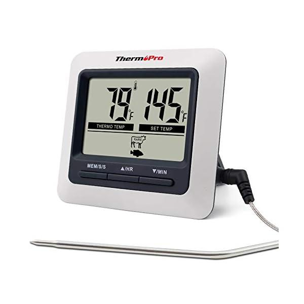 ThermoPro TP04 Termometro Cucina Digitale con Una Sonda e modalità Timer per Alimenti Carne Barbecue BBQ Forno Griglia… 1
