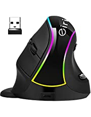 Ergonomic Vertical Mouse, eirix USB Computer Mice with 4 Adjustable DPI Levels, Removable Palm Rest & Thumb Buttons (Wireless v638)