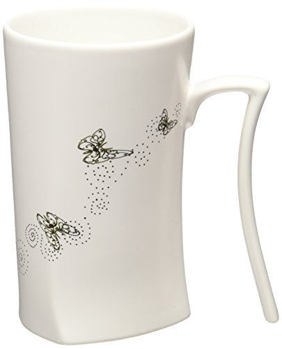 Cocera Formosa Treasure SHU-SWA017-MW Color Changing Porcelain Cup with Totem of Butterflies, Milky White