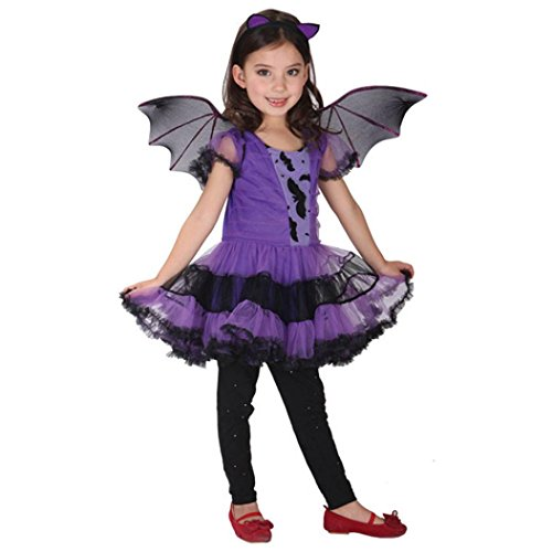 Iuhan 3pcs Baby Girl Halloween Clothes Costume Dress+Hair Hoop+Bat Wing Kids Outfit (Size:2-3 years, Purple) -