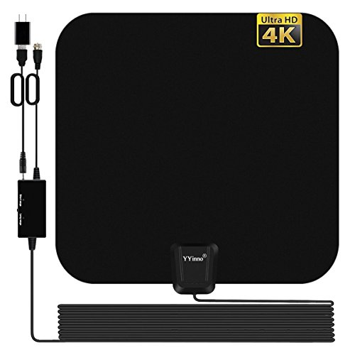 TV Antenna Indoor Amplified HDTV Antenna TV Digital HD 4K,80 Miles Range Max,with Powerful Amplifier Signal Booster and 16.5ft Coax Cable,2018 Newest