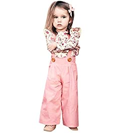 erthome Baby Girl Clothes 1-4 Years Toddler Baby Girls Long Sleeve Floral Tops+Solid Overalls Pants Clothes Outfits