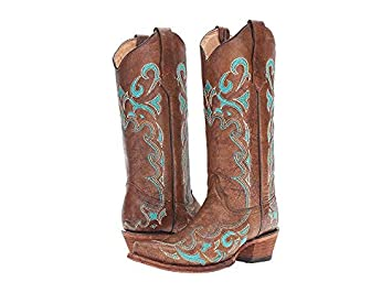 acb5b278d8e Corral Circle G Women's Turquoise-Embroidered Distressed Brown Leather  Cowgirl Boots