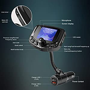 ZEEPORTE Bluetooth FM Transmitter for Car, 1.8 Color Screen Wireless Bluetooth FM Radio Adapter QC3.0 Qucik Charger with EQ Mode, 3 USB Ports, 4 Music Playing, Hands-Free Calls, TF Card, AUX Output -