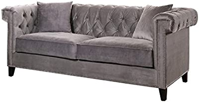 Abbyson Living Samantha Velvet Sofa in Gray