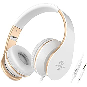 Sound Intone Headphones with Microphone and In-Line Volume Control, Perfect Sound with Powerful Bass, Adjustable, Foldable Headset for Iphone and Android Devices (White)
