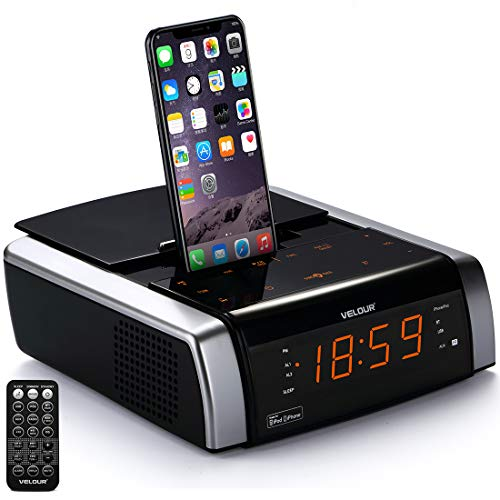 (VELOUR iPhone Charging Docking Station Speaker Compatible with iPhone X/8/7/6/5 S Plus,Alarm Clock FM Radio Bluetooth AUX-in USB Port Remote Touch Key Stereo System(Apple MFi Certified))