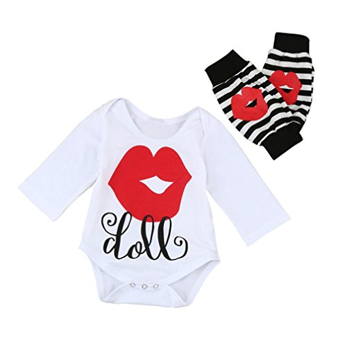 Staron 2PC Newborn Baby Girls Lip Mark Outfits Clothes Romper Tops+Leg Warmers Set (12-18 Months, (Burts Bees Coffee Lip)