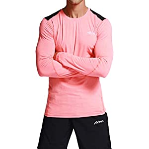 Akilex Men's Long Sleeve Tech Stretch T-Shirt Running Workout Fitness Warm Winter Gear Baselayer Top Athletic Shirt