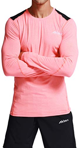 Akilex Men's Long Sleeve Tech Stretch T-Shirt Running Workout Fitness Warm Winter Gear Baselayer Top Athletic Shirt