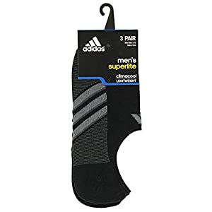 adidas Men's Superlite Super No Show Socks (3 Pack), Large, Black/Graphite/Medium Lead