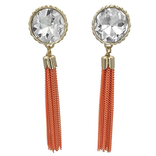 Chain Fringe Earrings - Long Chain Tassel Fringe Rhinestone Bling Post Dangle Boutique Style Gold Tone Earrings (Orange)