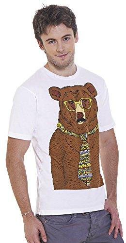 Retreez Funny Hipster marrón oso gráfico impreso camiseta Blanco