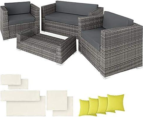 TecTake POLIRATÁN Aluminio Conjunto TRESILLO Muebles DE RATÁN Conjunto para JARDÍN + 4 Almohadas (Gris | No. 403085): Amazon.es: Productos para mascotas