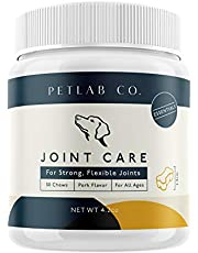 Petlab Co. Joint Care Chews for Dogs | Arthritis Soft Chew Dog Hip and Joint Chewable Supplement Vitamins | MSM, Glucosamine, Fish Oil Omega-3 Fatty Acids, Calcium Fluoroborate, Turmeric