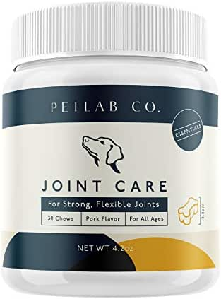 Petlab Co. Joint Health Care Chews for Dogs | Arthritis Soft Chew Dog Hip and Joint Chewable Supplement Vitamins | Glucosamine, Fish Oil Omega-3 Fatty Acids, Calcium Fructoborate, Turmeric