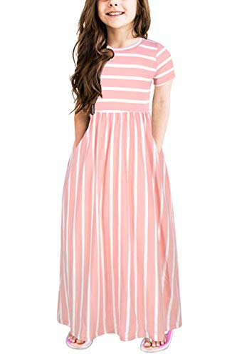 Gorlya Girl's Short Sleeve Floral Print Loose Casual Holiday Long Maxi Dress with Pockets 4-12 Years (6-7Years/Height:120cm, Pink Stripe) -