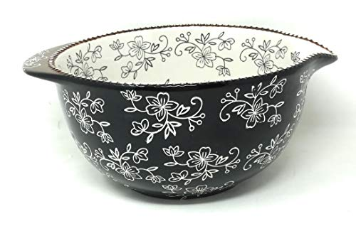 (Temp-tations Mixing Bowl with Pour Spout, 3.5 Qt (Floral Lace Black))
