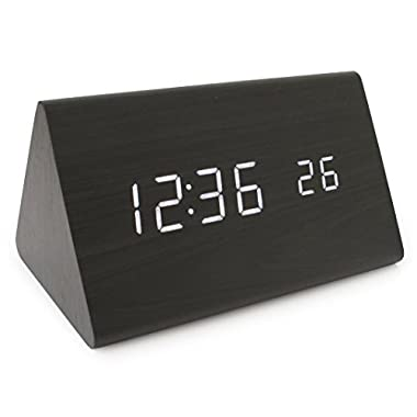 JCC New Wooden Series Modern Mini Triangle Wood Grain Thermometer Sound Activated Desk Super soft Night Light LED Digital Alarm Clock (Black-White)