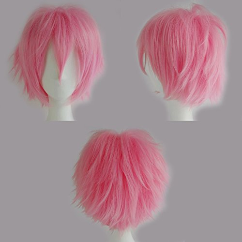 S-noilite New Short Cosplay Full Wig Pink Curly Hair Tail Costume Wigs Unisex Anime Ghost Cosplay (Fancy Dress 80s Style)