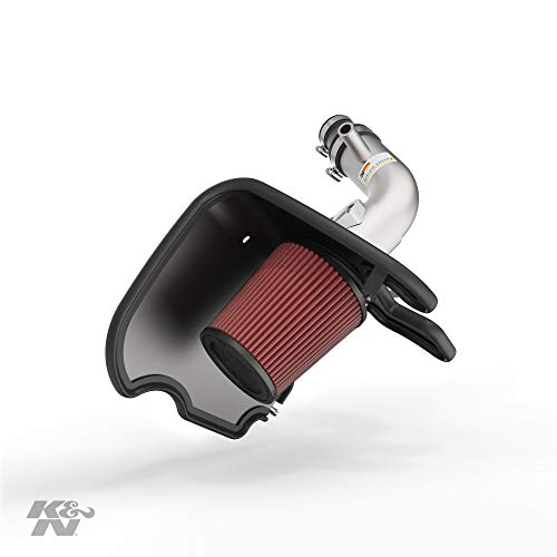 K&N Cold Air Intake Kit with Washable Air Filter: 2017-2019 Chevy Cruze, 1.4L L4, Polished Metal Finish with Red Oiled Filter, 69-4537TS