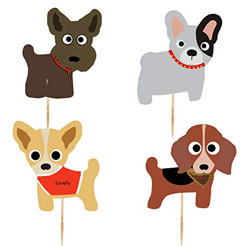 Dog Cupcake Toppers(48PCS) Kid's Birthday Party Decorations Supplies, Cute Puppy Cupcake Toppers, Pets Theme Baby Shower -