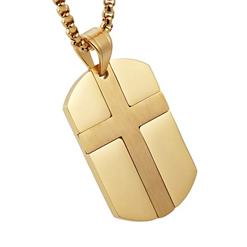 HZMAN Isaiah 41:10 Jewelry, Stainless Steel Cross Dog Tag Necklace Strength Bible Verse (Gold) ()