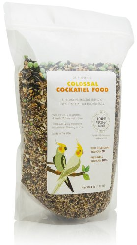 Dr. Harvey's Colossal Cockatiel Blend, All Natural Daily Food for Cockatiels (2 pounds)