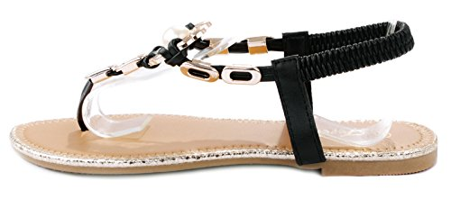 Reyna80 Black Gold Chain Pearl Decor T-Strap Slingback Thong Flat Sandals-8.5
