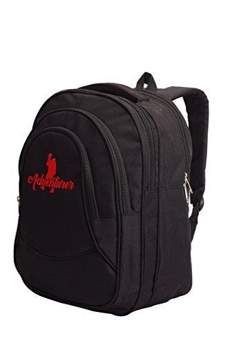 Adventurer Polyester Black & Red School Bag Travel Backpack (VA-0015)