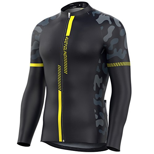 4ucycling Men's Team Wear Cycling Jersey Long Sleeve Black-Yellow long sleeve cycling - Cycling Apparel Team