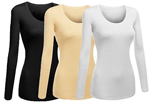 Emmalise Women's Plain Basic Scoop Neck Long Sleeve Tshirt Tee - 3Pk - White, Khaki, Black, 2XL (: Womens Khaki Accessories Clothing)