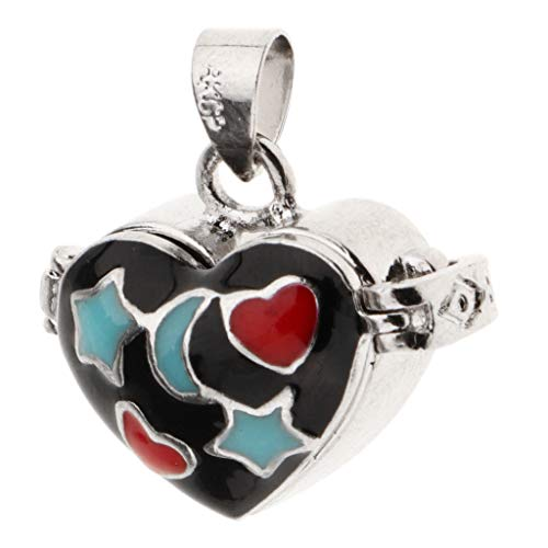 Love Heart Black Enamel Openable Cremation Keepsake Urn Pendant Fit Necklace ()